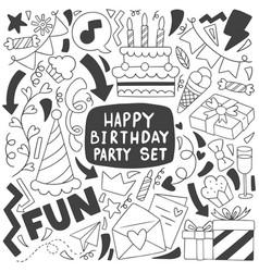 0012 hand drawn party doodle happy birthday vector