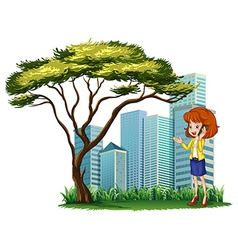 A woman using her phone outside the office vector
