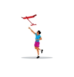 Aeromodelling Young boy launches the plane vector image