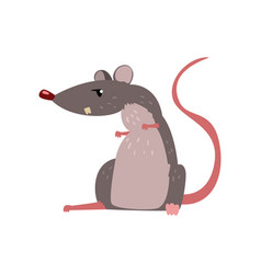 Angry grey mouse cute rodent character vector