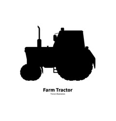 black silhouette agricultural farm tractor vector image