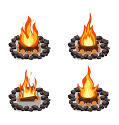 bonfires set burning woodpile and round of stones vector image