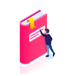book icon isometric style man reaches for a vector image
