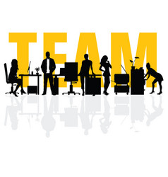 business team people silhouette vector image
