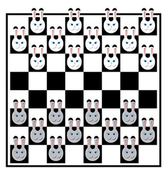 Chess board with rabbits vector