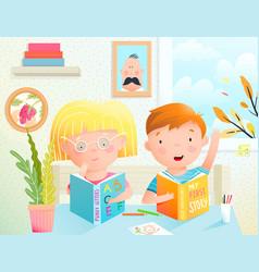Children reading books together little boy vector