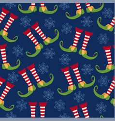 christmas seamless pattern with elf legs vector image