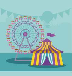 circus tent with panoramic wheel vector image