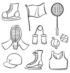 Collection of sport equipment doodles vector