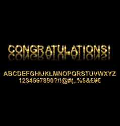 congratulations gold alphabetic fonts vector image