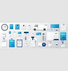Corporate identity template design blue and white vector