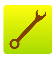 crossed wrenches sign brown icon at green vector image