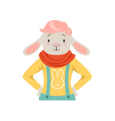 Cute fashion sheep guy character hipster animal vector