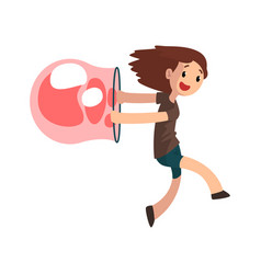 cute girl having fun with big soap bubble cartoon vector image