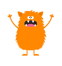 Cute orange monster icon happy halloween cartoon vector