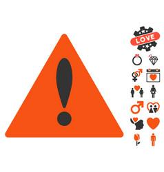 danger icon with love bonus vector image