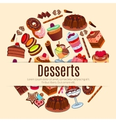 Desserts poster for pastry or patisserie vector