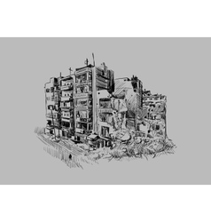 Destroyed building vector