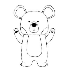 dotted shape cute bear wild animal of the forest vector image