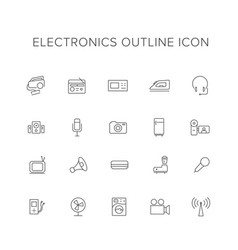 electronics line icon set vector image