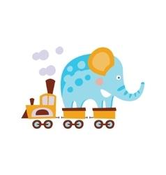 Elephant On Train Wagon Stylized Fantastic vector image