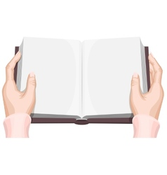 Female hands holding an open book vector image