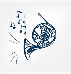 french horn sketch line design music instrument vector image