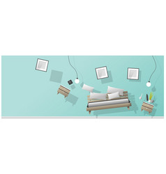 Furniture hovering into new bedroom vector