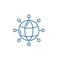 global connections line icon concept global vector image