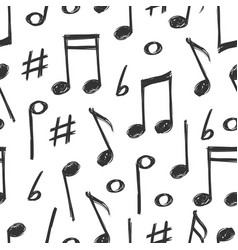Hand drawn music notes seamless pattern design vector