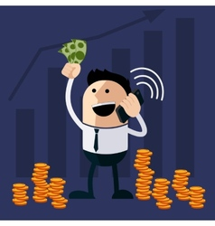 Happy man holding money and phone vector