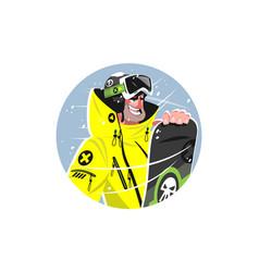 Happy man with snowboard vector