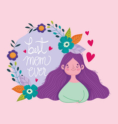 happy mothers day woman flowers hearts love frame vector image