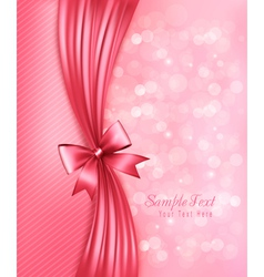 Holiday pink background with gift glossy bow and vector image