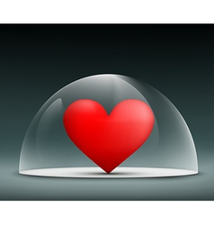 Human heart under a glass dome vector