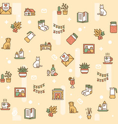 hygge color linear icons set vector image