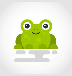 icon a cute green frog in flat design vector image