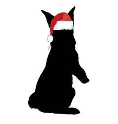 Icon cute baby christmas bunny rabbit in santa vector