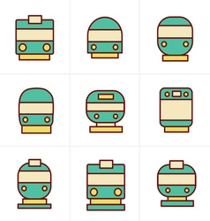 Icons Style Set of transport icons - Train and Tra vector image