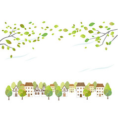 Idyllic watercolor townscape with young leaves vector