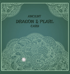 Indigo oriental pearl dragon card vector