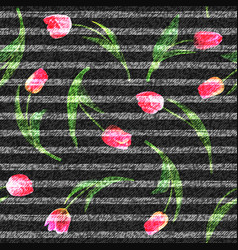 jeans flowers tulip seamless background vector image
