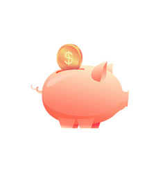 large piggy bank with a coin on an isolated vector image