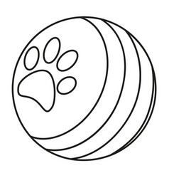 line art black and white ball with paw print vector image