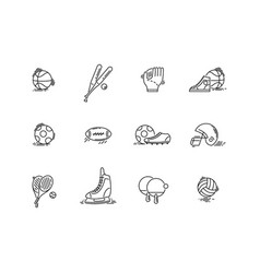 line icons sport games equipment baseball vector image