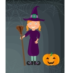Little witch girl in a halloween costume vector image