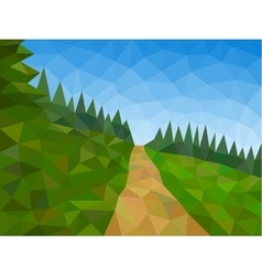 Low poly mountains with blue sky and path vector image