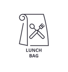 Lunch bag line icon outline sign linear symbol vector