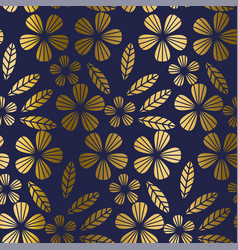 Luxury gold style tropical leaves and flower vector