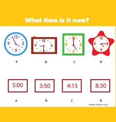 Matching children educational game match clock vector